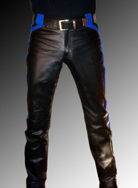 men`s Leather trousers new black blue Designer  leather pants  Lederhose schwarz