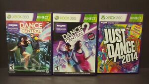 Just-Dance-2014-Dance-Central-1-2-MicroSoft-XBOX-360-Game-Lot-Tested-Works