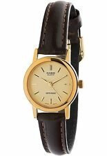 Casio Women's Brown Leather Strap Watch, Champagne Dial, LTP1095Q-9A