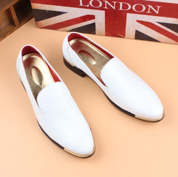 Men's New Fashion Round Toe Crocodile Grain Slip On Loafers Groom Wedding shoes