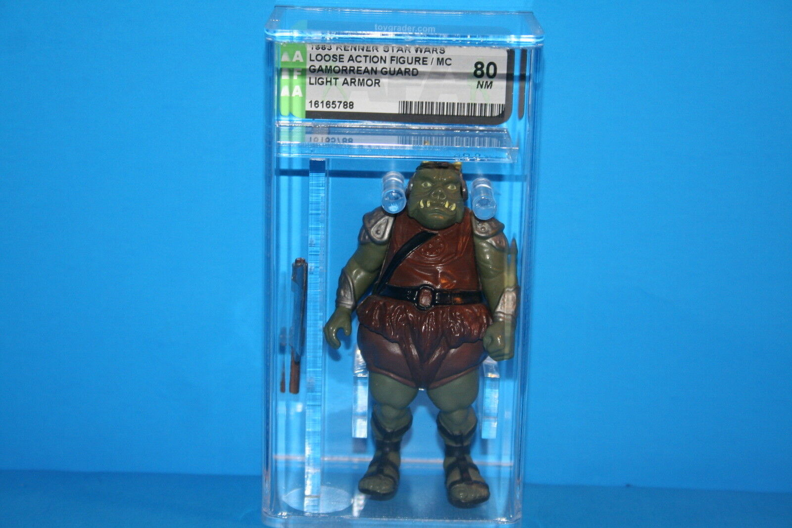 VINTAGE STAR WARS AFA GRADED GAMORREAN GUARD 80 NM 83 MACAU WEAPON KENNER FV