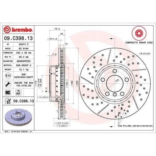 2 Disque de frein BREMBO 09.C398.13 TWO-PIECE DISCS LINE convient à BMW