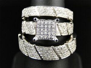 Mens Ladies White Gold Over Lab Diamond Engagement Bridal Wedding