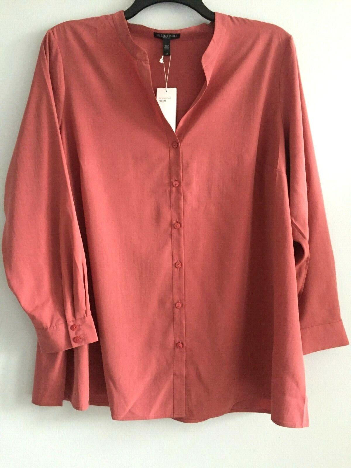 Nuevo con etiquetas  Eileen Fisher Chutney sandwashed Tencel Con Cuello Camisa Top 1X 2X 3X  ahorre 60% de descuento