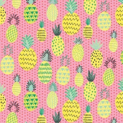 13,18€//qm Stoff Patchwork Summerlicious Ananas Sommer Rosa Gelb 30cm