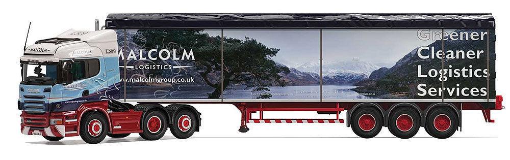 Corgi cc13789, scania r highline zu boden trailer, malcolm logistik, 1  50