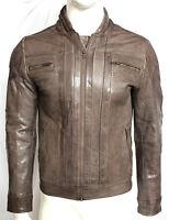 Calvin SLIM FIT Men's Gents Peanut Designer Casual Premium Leather Biker Jacket