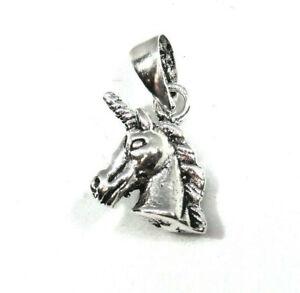 Einhorn-Anhaenger-925-Sterling-Silber-mit-Silberkette-Lederband-Neu