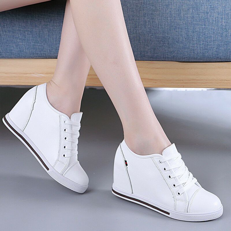 Womens Casual Hidden Wedge Heel Lace Up Sneaker Athletic Tennis Creeper shoes SZ