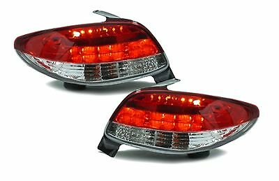 Back Rear Tail Lights Pair Set Chrome For Peugeot 206CC 98-05