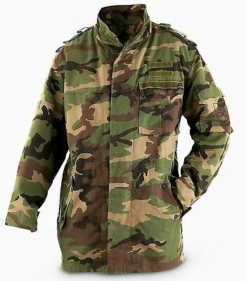 Genuine CZECH Army Issued M97 Woodland Camo Zip Fronted Field Jacket GRADE 1