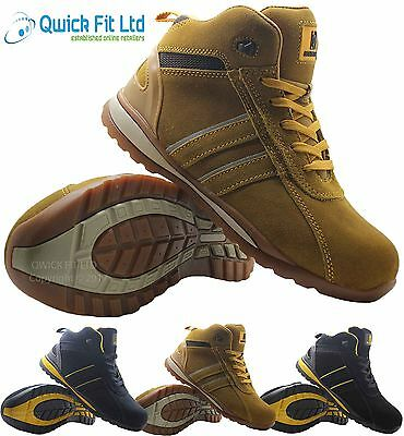 Mens Leather Ultra Lightweight Steel Toe Cap Safety Work Ladies Boots Trainers Shoes