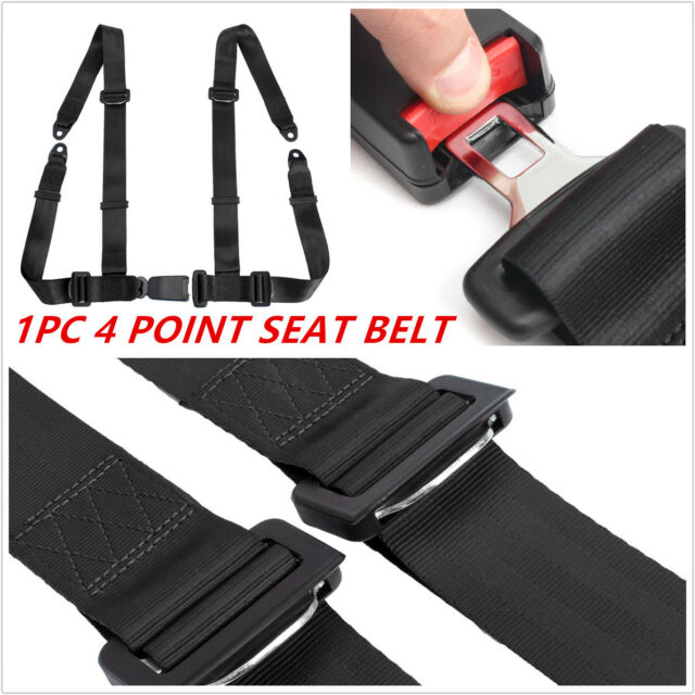 Vehicle Racing 4 Point Auto Car Safety Seat Belt Buckle Harness Black Universal