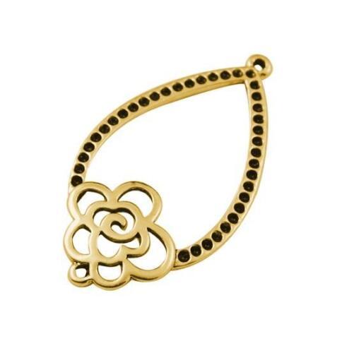 5 10 o 15 colgantes de 40 x 22 mm de oro flor de metal joyas Connector nuevo