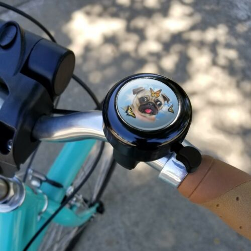 Pug Dog Butterflies Selfie Bicycle Handlebar Bike Bell