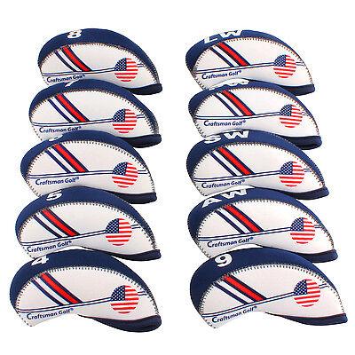 New White & Blue USA Flag Neoprene Golf Club Iron Head Cover Headcover 10pcs