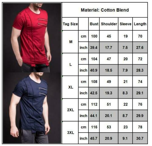 Mens Zipper T-shirt Short Sleeve Slim Fit Casual Sport Muscle Gym Basic Tee Tops