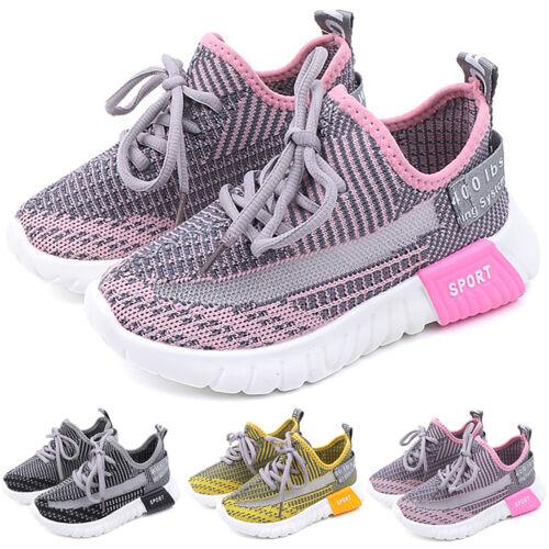 Jungen Mädchen Mesh Sportschuhe Turnschuhe Kinderschuhe Schnür Sneaker Gr.25-34
