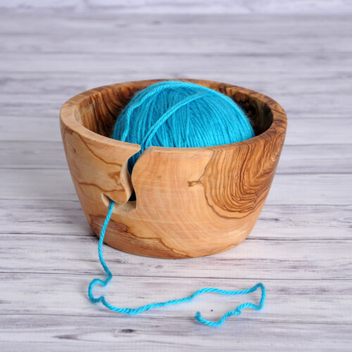 Knitting Bowl Hand-Carved from Olive Wood Yarn Bowl