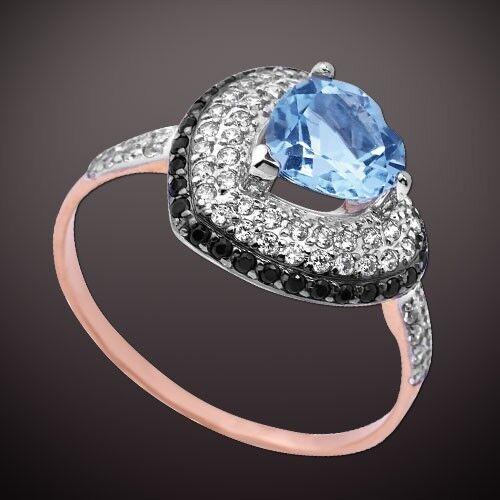 rosa russa rossooro rossooro rossooro 585 cuore anello con Topaz e CZ BIColoreE NUOVO LUCIDO a44d08