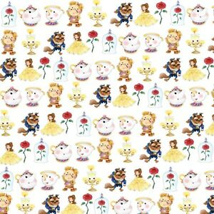 "GORGEOUS ""BEAUTY & THE BEAST"" INSPIRED PRINTED  FABRIC SHEET..HAIR BOWS GLITTER"