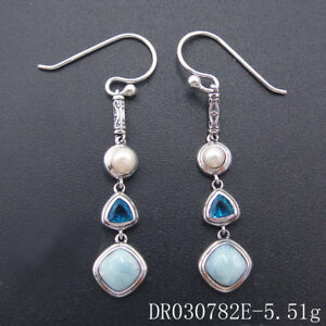 Solid-925-Sterling-Silver-Natural-Larimar-Blue-Topaz-Jewelry-Women-Drop-Earrings
