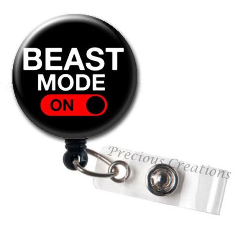 Beast Mode ID Badge Reel Holder Clip Retractable RT Tech Nurse PT OT EMT