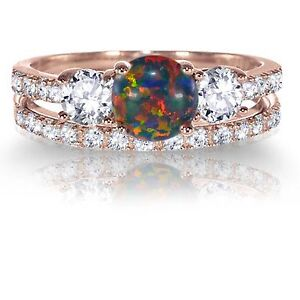 Image Is Loading 14k Rose Gold Round Black Fire Opal Engagement