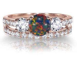 image is loading 14k rose gold round black fire opal engagement - Opal Wedding Ring Sets