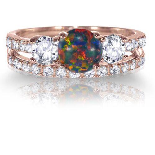 14k or rose ronde Black fire Opal Engagement Wedding Sterling Silver Ring Set