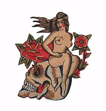 Girl on Skull Japanese Red Rose Large Embroidered Patch Iron on Tattoo Goth Punk