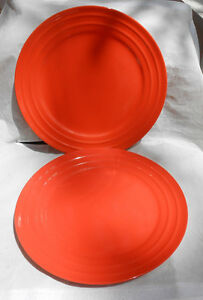 RACHAEL RAY DOUBLE RIDGE DINNER PLATES ORANGE 2 11\