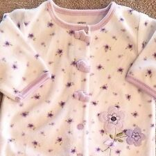 SWEET! CARTER'S NEWBORN TERRY CLOTH PURPLE FLOWERS FOOTED SLEEP N PLAY OUTFIT