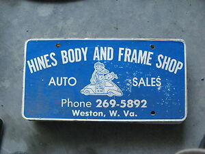 HINES-BODY-FRAME-SHOP-WESTON-WEST-VIRGINIA-WV-BOOSTER-LICENSE-PLATE