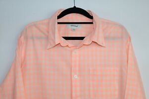 Country Road Men's Long Sleeve Orange/Pink Check Shirt Size L