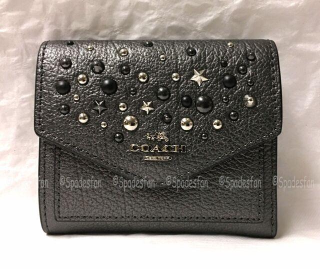 9f69e27f4e5d Coach 59510 Star Rivets Leather Trifold Small Wallet METALLIC GRAPHITE Gray  NWT