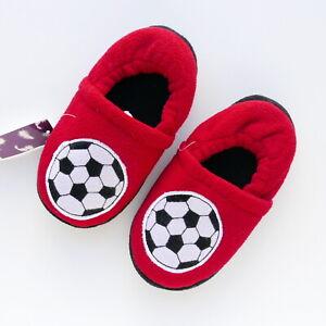 CHILDRENS BOYS FOOTBALL VELOUR SLIPPERS