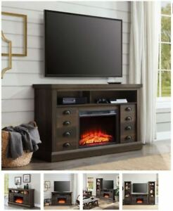 60 Inch TV Stand With Fireplace Media Console Electric Entertainment Center SALE | Home & Garden