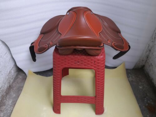 12/'/' p0ny English brown leather all purpose jumping saddle full paeded