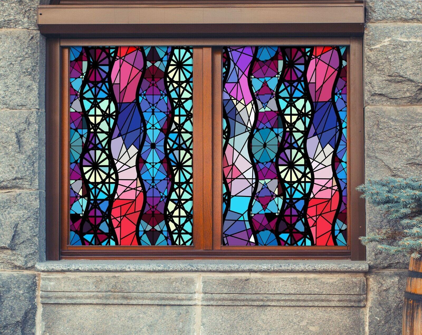 3D Farbe Geometry R151 Window Film Print Sticker Cling Stained Glass UV Su
