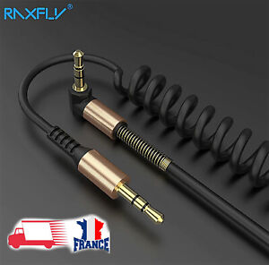 AUX-Jack-3-5mm-Cable-Audio-Jack-a-angle-droit-de-90-degres-Enroule-Male-Male