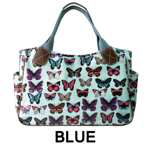 Womens Butterfly Oilcloth Day Shoulder Carry Shopper Bag Tote Handbag