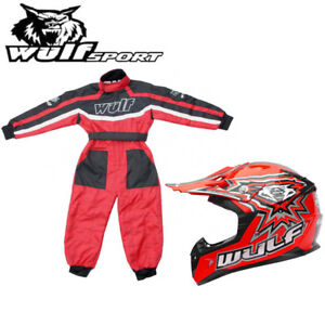 KIDS MOTOCROSS WULFSPORT AZTEC DIRT BIKE RACE TOP PANT PROTECTIVE CLOTHING RED