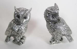 "Set of 2 Wise Owls Silver Colored Home Decor 5.5"" Tall"