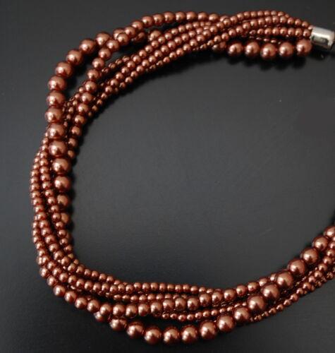 Perlenkette Collier Paris Kette Perlen Halskette Glaswachsperlenkette 5 Farben