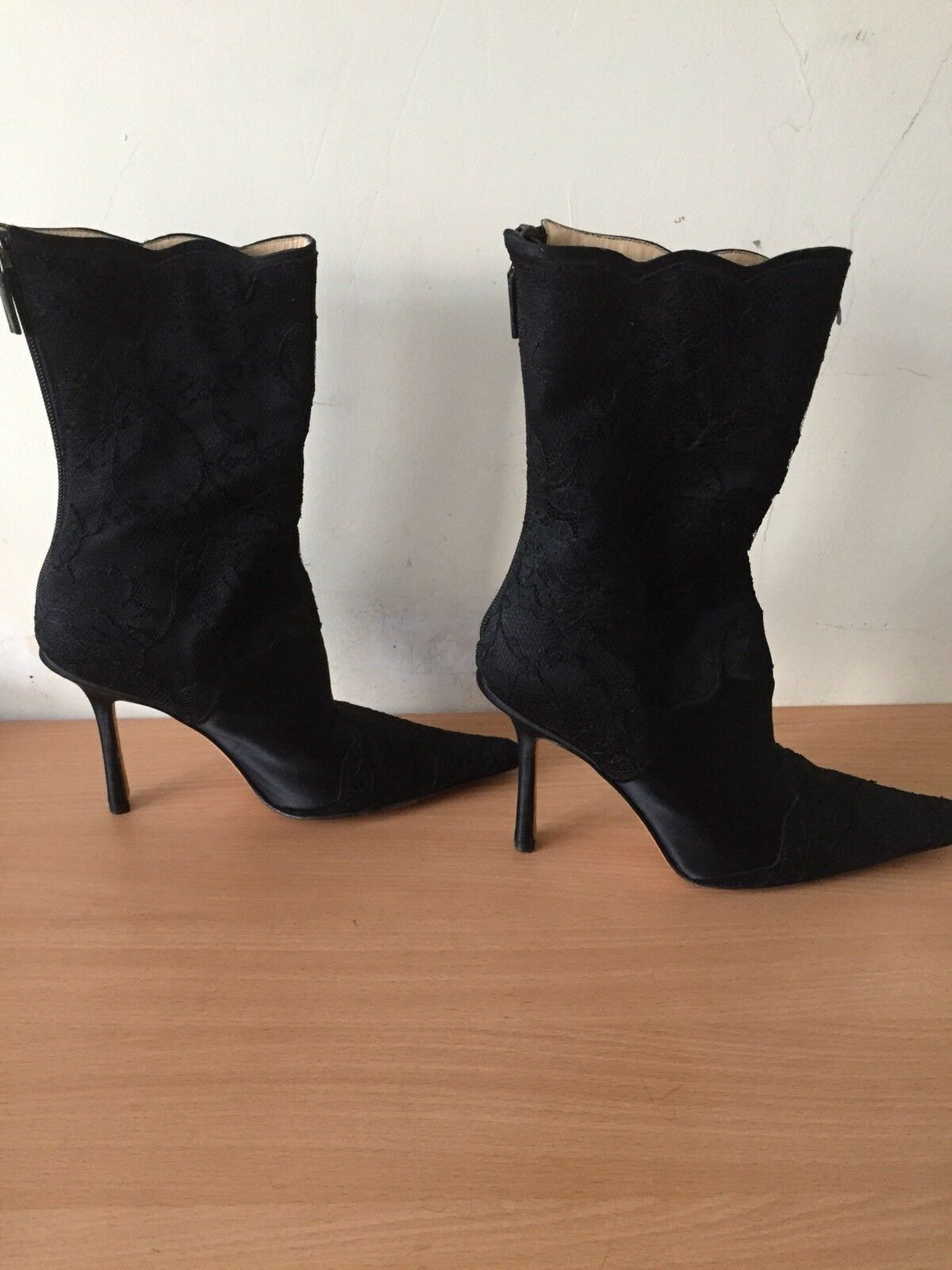 Jimmy Choo Black Boots, Size 37,5  Uk 4 Lace And Silk Gorgeous