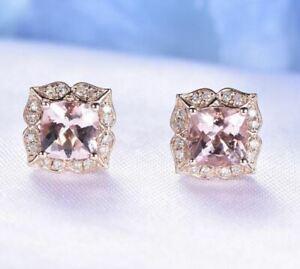 4Ct-Cushion-Cut-Morganite-Push-Back-Halo-Stud-Earrings-18K-Rose-Gold-Finish