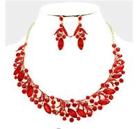 Red Gold Wedding Rhinestone Crystal Pageant Necklace Jewelry Set Earring