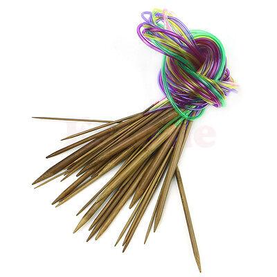 "18 pcs 47"" 120cm Multicolor Tube Circular Carbonized Bamboo Knitting Needles"
