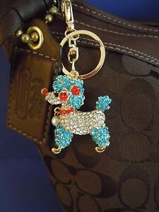 Image Is Loading Fabulous Blue Poodle Rhinestone Amp Medal Alloy Purse